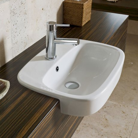 863715W BK Image HeroImage Fowler Regent Semi Recessed Vanity Basin - 1TH