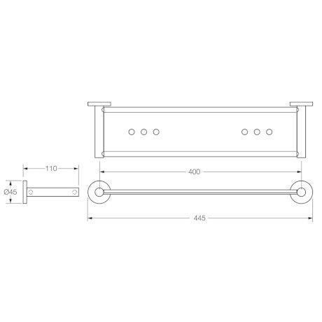 0954C BK Image TechnicalImage VI Circit Metal Shower Shelf L