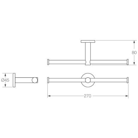 0961C BK Image TechnicalImage VI Circit Double Toilet Paper Holder L