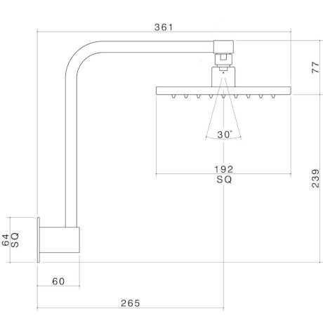 2125.043A BK Image TechnicalImage Dorf Jovian Minko Arc Fixed Wall Shower LD