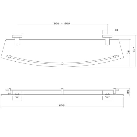 2298.04 BK Image TechnicalImage Dorf Enix Glass Shelf LD