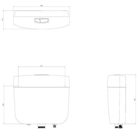233031W BK Image TechnicalImage Caroma Slimline Cistern PBLD