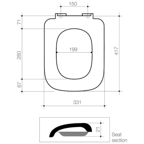 300024W BK Image TechnicalImage Caroma Cube Toilet Seat PBLD