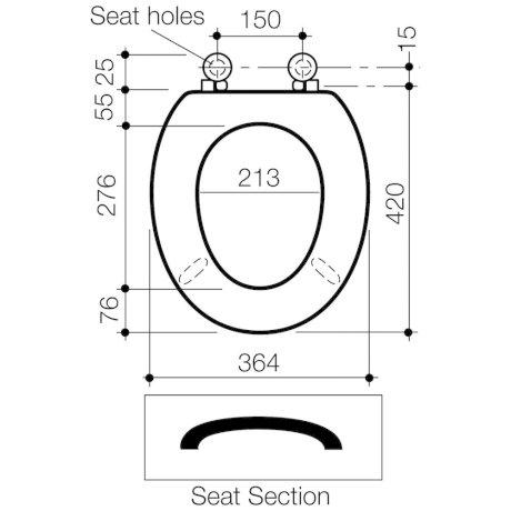 320027W BK Image TechnicalImage Caroma Avalon Commercial Toilet Seat PBLD