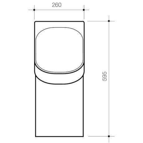 678610W BK Image TechnicalImage Caroma Cube H2ZERO Urinal PBLD