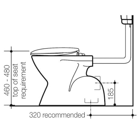834400W BK Image TechnicalImage Caroma Cosmo Care Concealed Pan PBLD