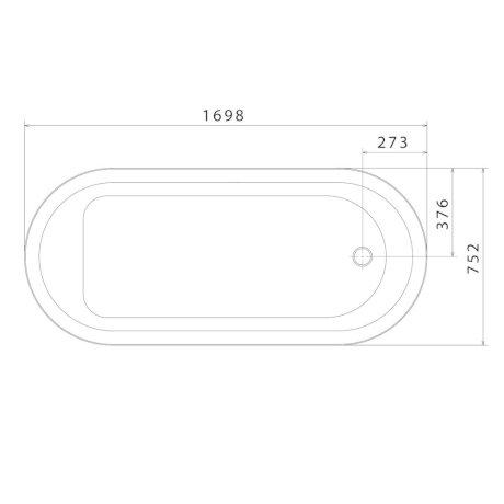CL7W BK Image TechnicalImage Caroma Classic 1700 Bath PBLD