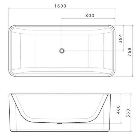 CU6W BK Image TechnicalImage Caroma Cube1600  Freestanding Bath PBLD