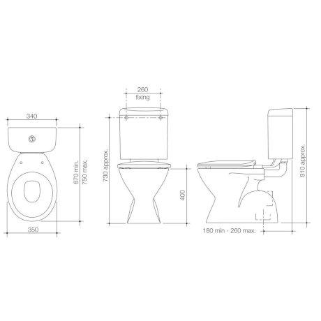 PRI200W BK Image TechnicalImage Stylus Prima Connector ToiletSuiteS LD