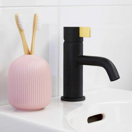 CLARK round blade basin mixer - black brass.jpg