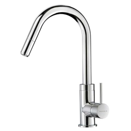 p01-2329A BK Image HeroImage Culinary Gooseneck Pull Out Sink Mixer (Chrome)