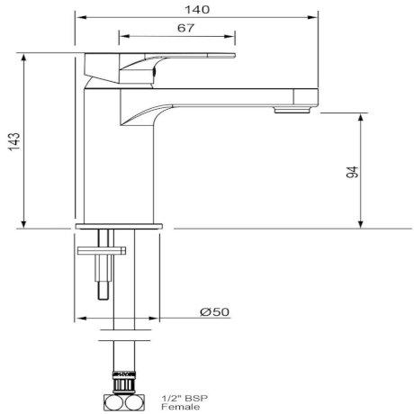 03-9708M BK Image TechnicalImage Glide Basin Mixer - Chrome