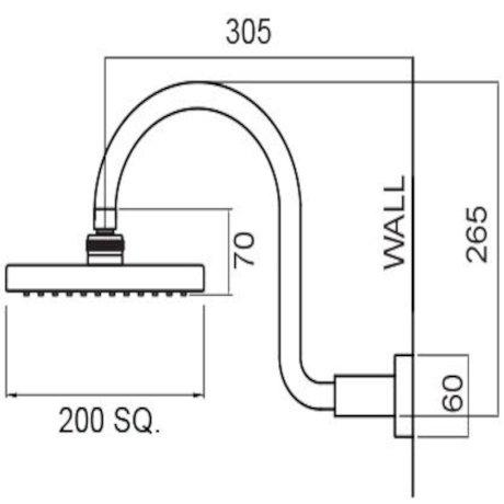 16-1140MBK BK Image TechnicalImage Rere Wall Shower on Swan Neck Arm (Matte Black)