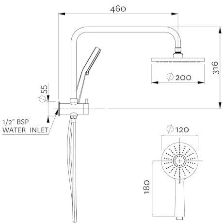 17-7165M BK Image TechnicalImage Krome Short Twin Shower System