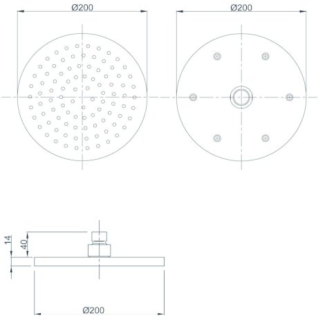 17-7233M BK Image TechnicalImage Krome 200mm Round Drencher (Chrome)
