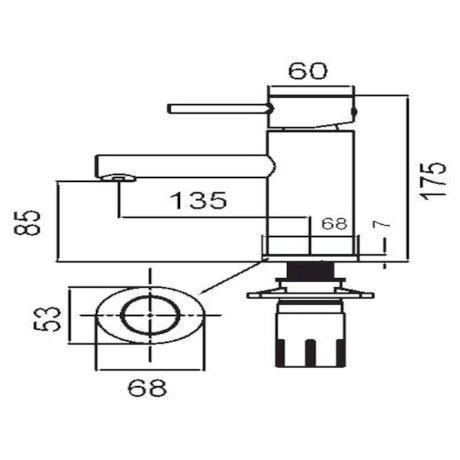 p01-0011 BK Image TechnicalImage Ovalo Basin Mixer