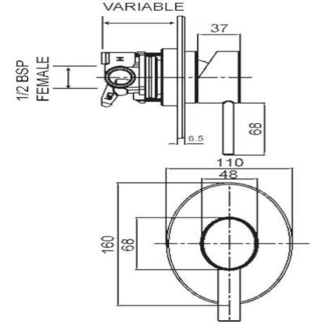 p01-0103 BK Image TechnicalImage Ovalo Shower Mixer
