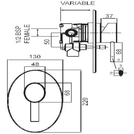 p01-0202 BK Image TechnicalImage Ovalo Shower Mixer with Diverter