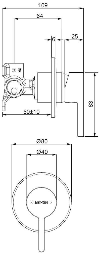 p03-9159M BK Image TechnicalImage Arrow Shower Mixer