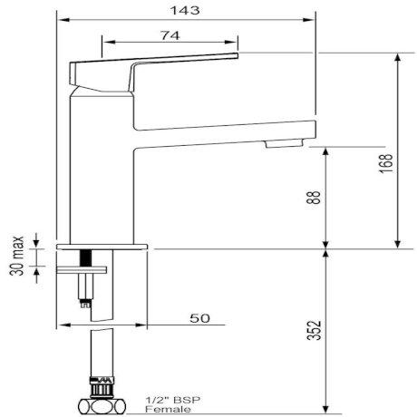 p03-9425M BK Image TechnicalImage Blaze Basin Mixer - Chrome