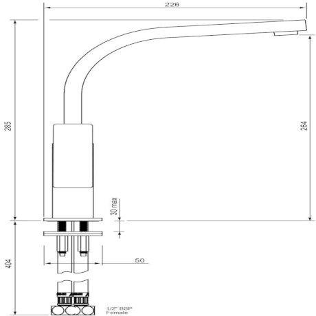 p03-9487M BK Image TechnicalImage Blaze Sink Mixer