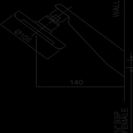 p13-7367 BK Image TechnicalImage Kiri Satinjet Wall Shower on Upswept Arm