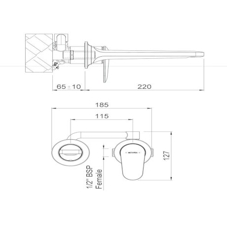 pAOWBCPAU BK Image TechnicalImage Aio Wall Mounted Basin Mixer with Spout