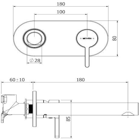 03-9210M Arrow Plate Mount Basin Mixer with 200mm Spout tech.jpg
