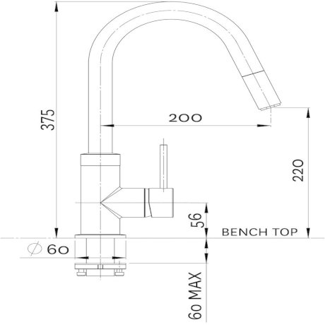 01-0381 Culinary Gooseneck Pull Out Sink Mixer - Chrome_Black.jpg