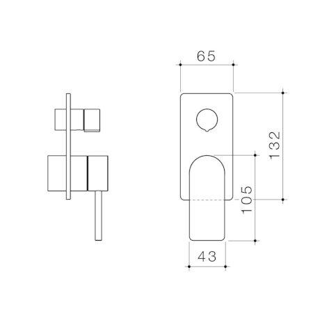 99662C 99662B 99662BB 99662GM 99662BN - Urbane II - Bath shower mixer with diverter Trim Kit - Rectangular Cover Plate.jpg