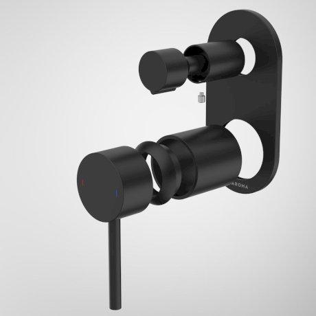 96369B Liano II Bath Shower Mixer With Diverter Trim Kit - Round Cover Plate - Matte Black.jpg