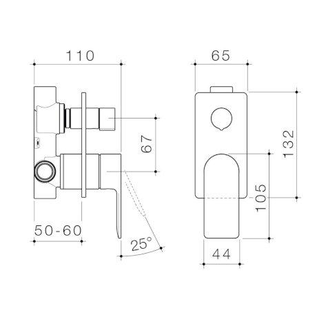 99657C6A 99657B6A 99657BB6A 99657GM6A 99657BN6A - Urbane II - Bath shower mixer with diverter - Rectangular Cover Plate - SALES KIT.jpg