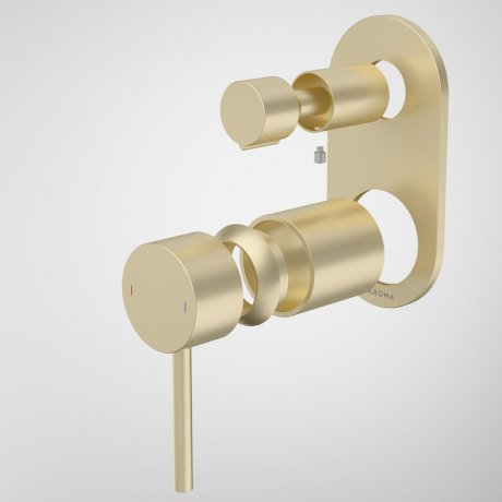 96369BB Liano II Bath Shower Mixer With Diverter Trim Kit - Round Cover Plate - Brushed Brass.jpg