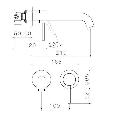 96352C6A-96352B6A-96352BB6A-96352GM6A-96352BN6A - Liano II 210mm Wall Basin Bath Mixer - 2 x Round Cover Plates.jpg