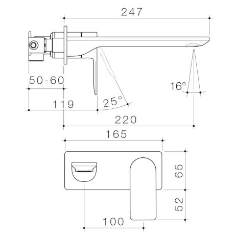 99642C6A 99642B6A 99642BB6A 99642BN6A 99642GM6A Urbane II 220mm Wall Basin Bath Mixer - Rect Cover Plate.jpg
