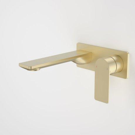 99632BB6A Urbane II 180mm Wall Basin Bath Mixer - Rectangular Cover Plate - Brushed Brass 2.jpg