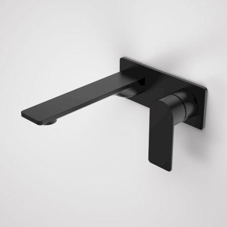 99632B6A Urbane II 180mm Wall Basin Bath Mixer - Rectangular Cover Plate - Matte Black 1.jpg