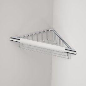 Opal Corner Shower Support Rail with Basket White