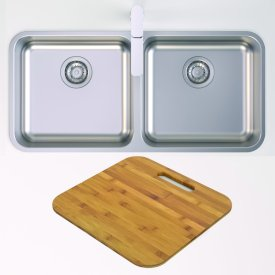 Luna Double Bowl and Chopping Board Bundle