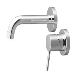 Minimalist Wall Mounted Mixer with Spout - Chrome