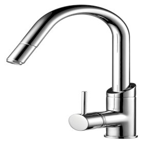 Minimalist Gooseneck Sink Mixer with Pull Out Spray - Chrome